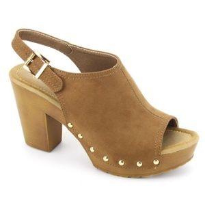 Shoes - Studded Open toe  Block Heel Mule last pair sz 6